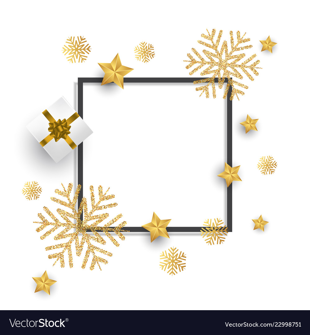 Christmas background with glitter snowflakes gift
