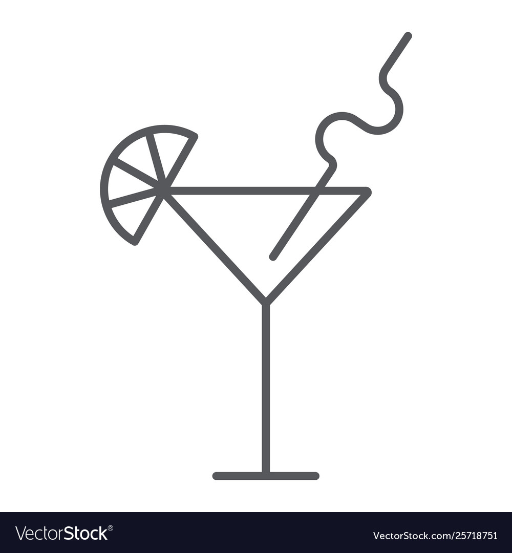 Cocktail thin line icon bar and party drink sign