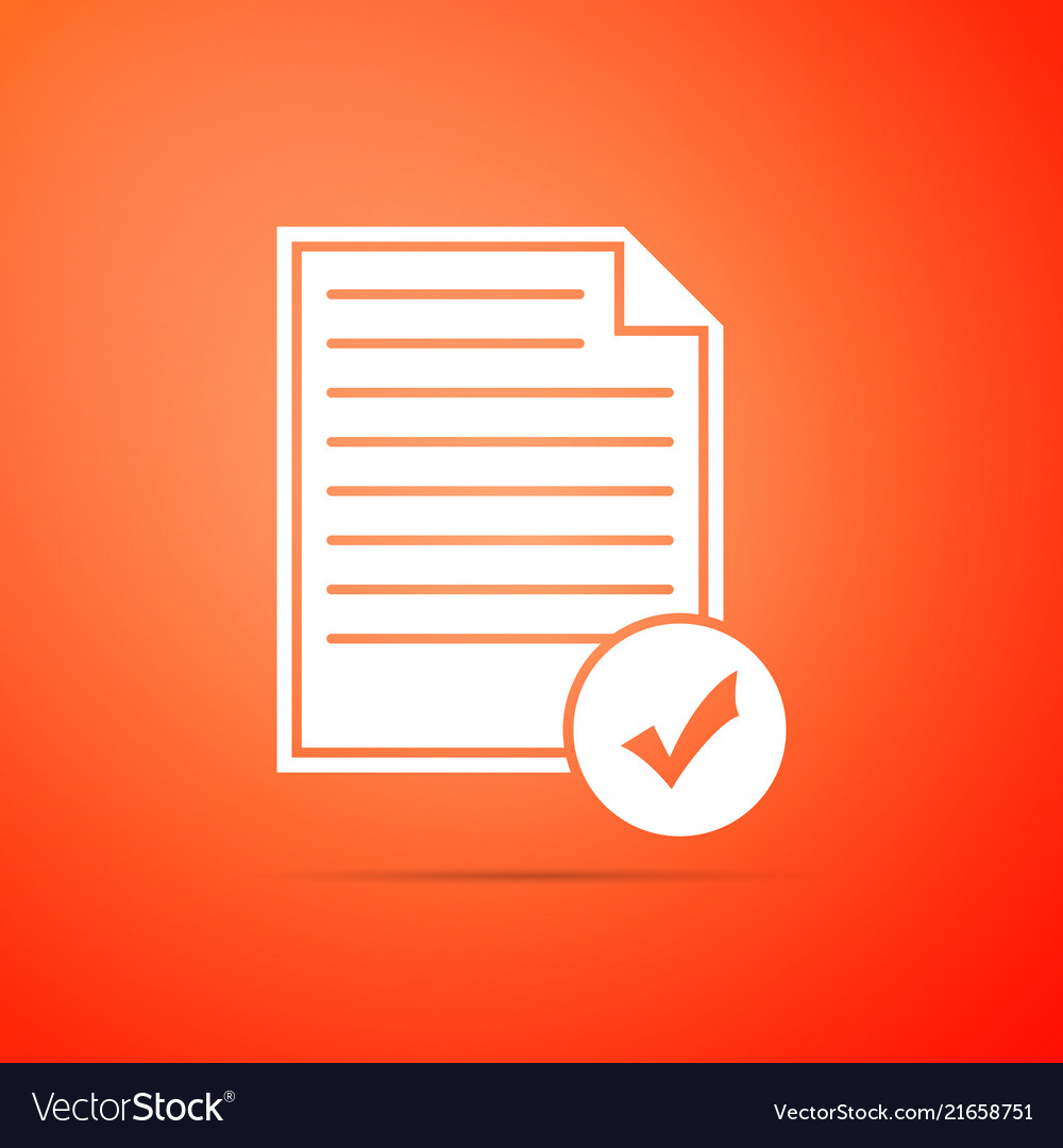 Document and check mark icon on orange background