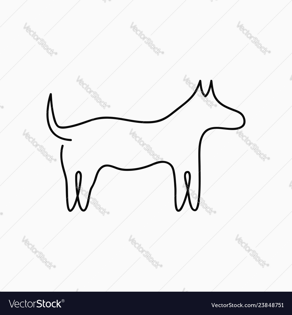 Dog one line drawing continuous line pet animal