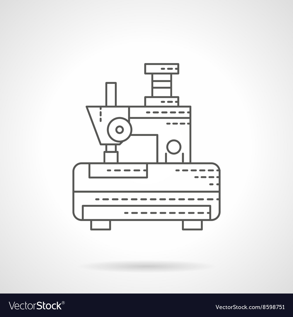 Embroidery machine flat line icon