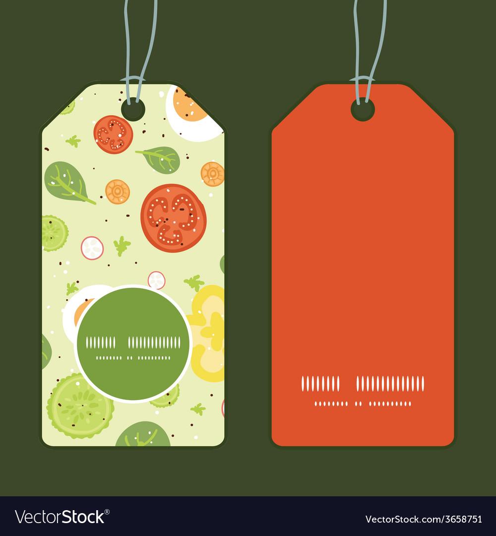Fresh salad vertical round frame pattern tags set