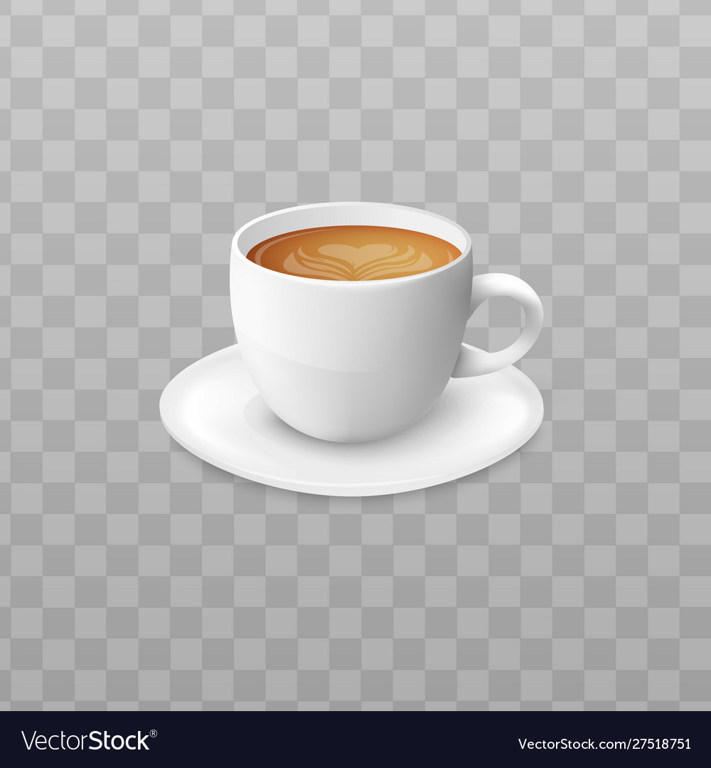 Hot Cappuccino Coffee In White Cup And Saucer Vector Image