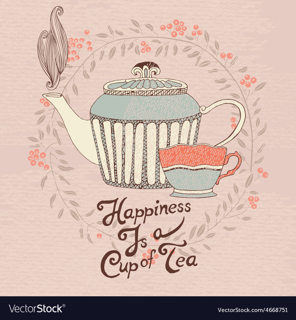 Invitation Card Tea Cup And Teapot Royalty Free Vector Image