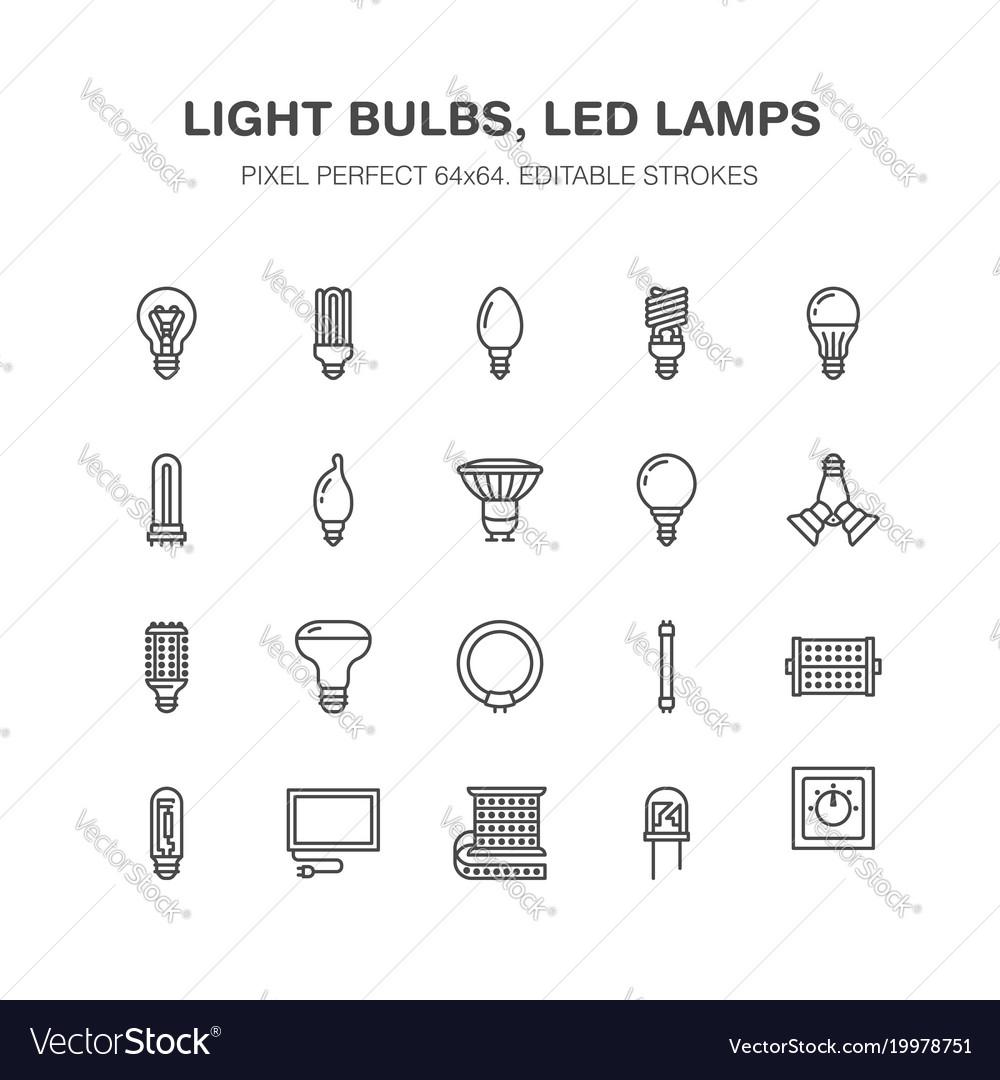 Light bulbs flat line icons led lamps types