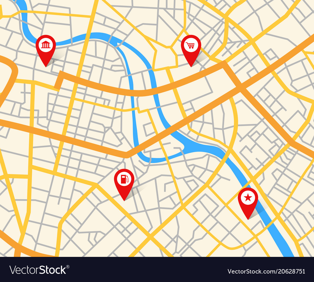Map With Pins Navigation european city map with pins abstract Vector Image