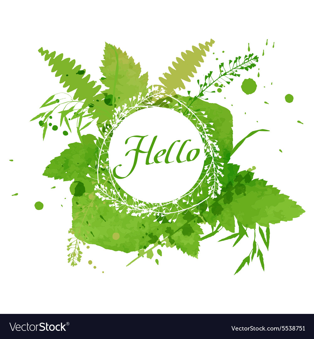 Postcard with the words Hello on green watercolor