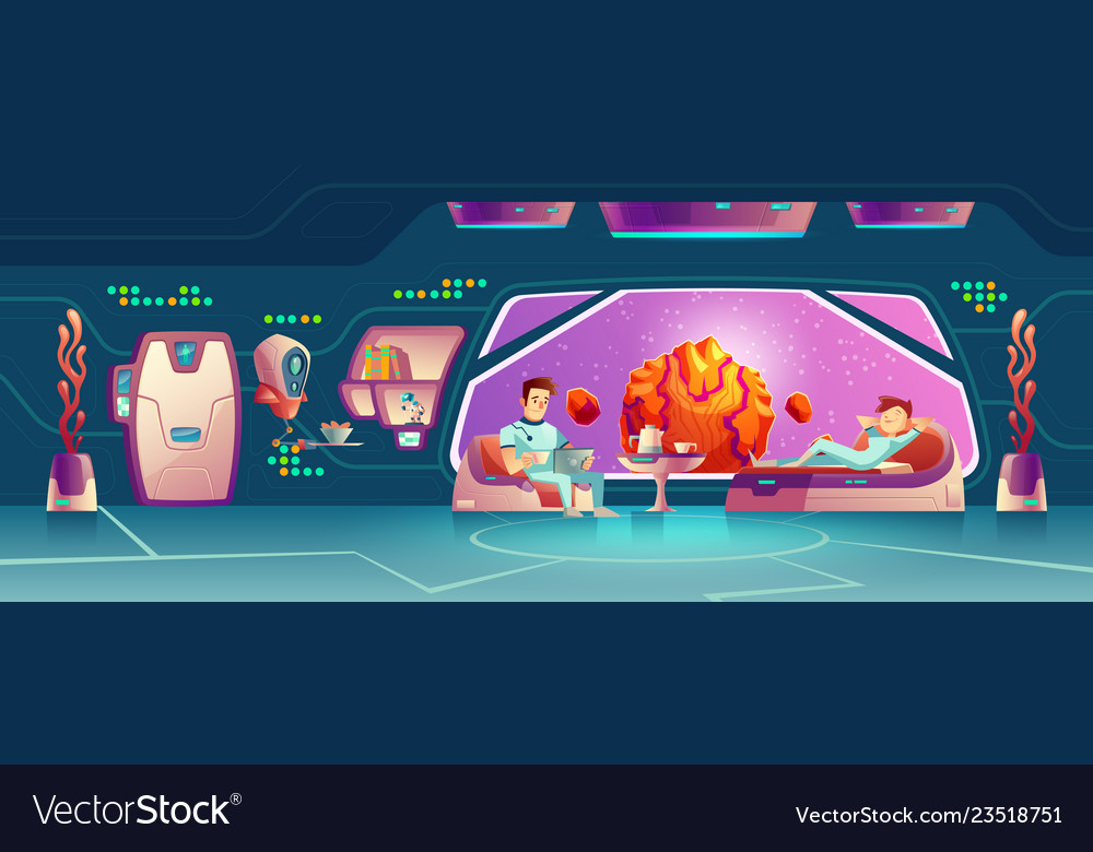 Space hotel clients resting in room cartoon