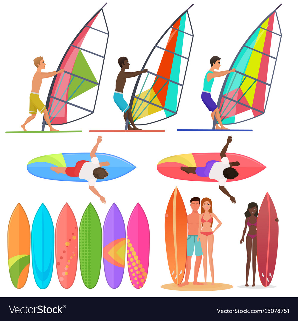 Surfer people collection surfboards top and