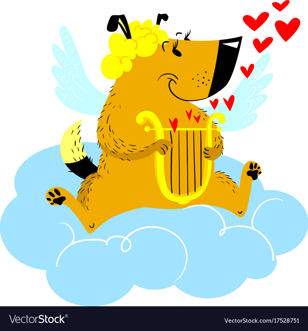 Valentines day dog character dog in cupid or vector image