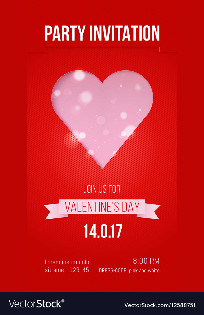 Valentines Day Party Invitation Design Vector Image