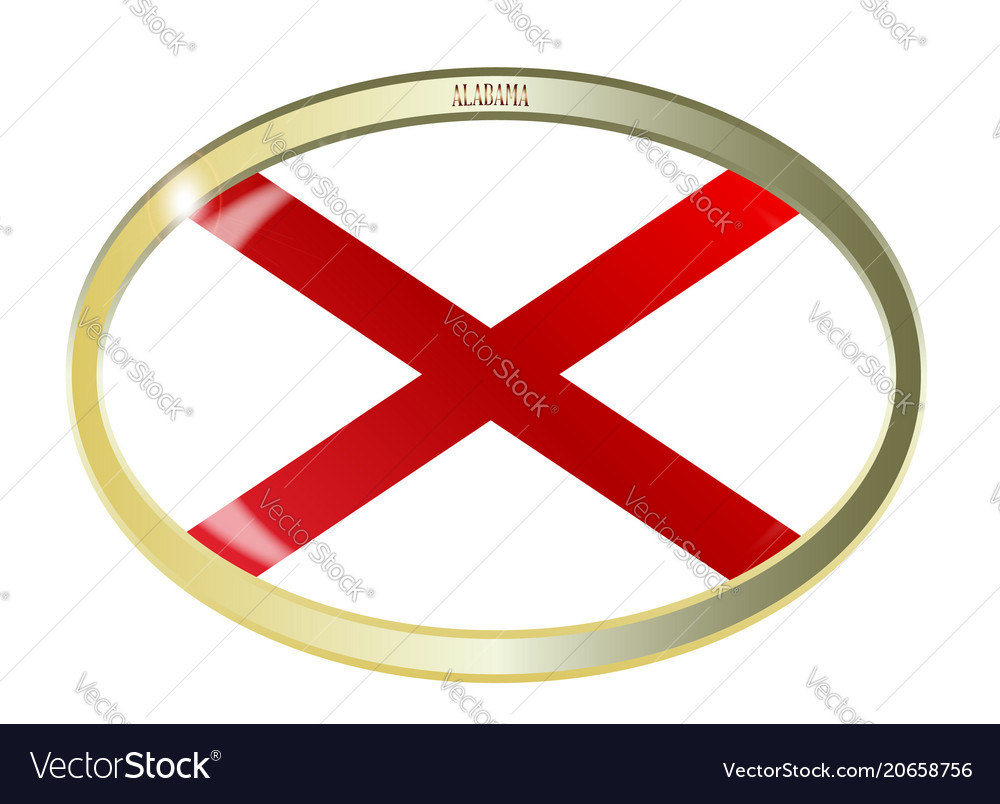 Alabama State Flag Oval Button Royalty Free Vector Image