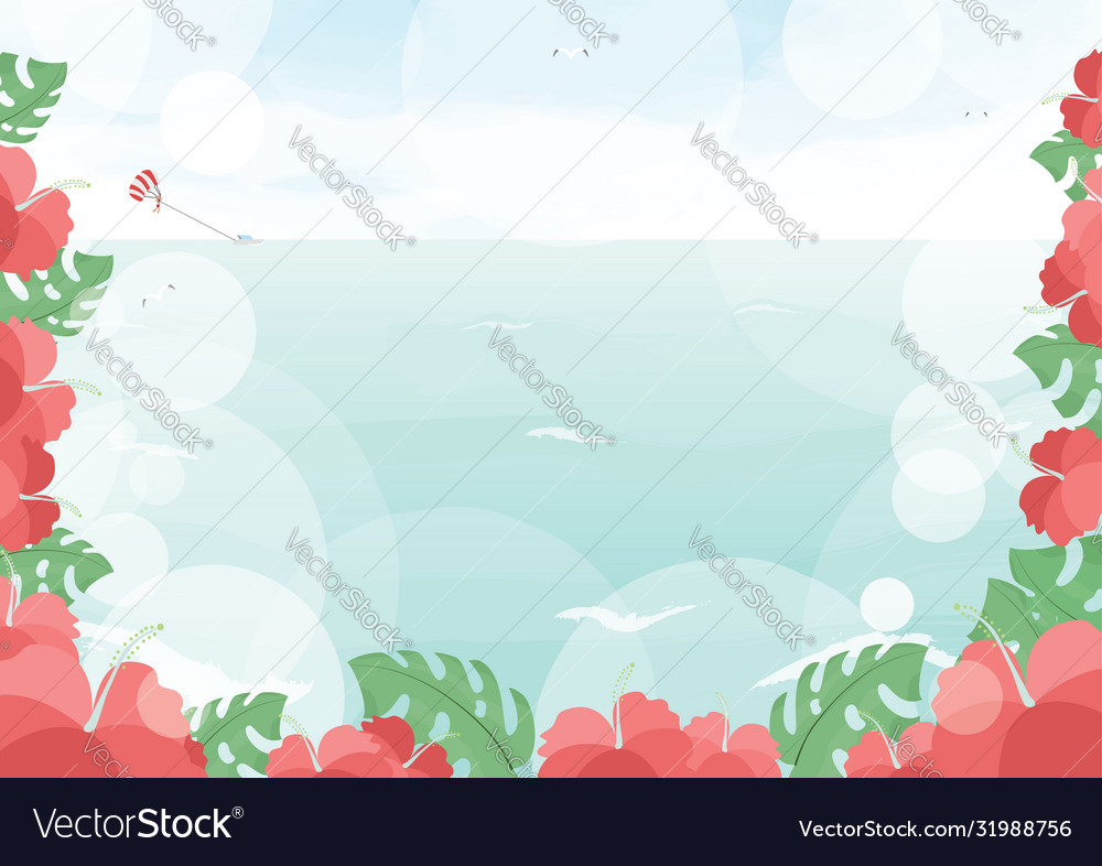 Beautiful ocean beach with hibiscus flower summer