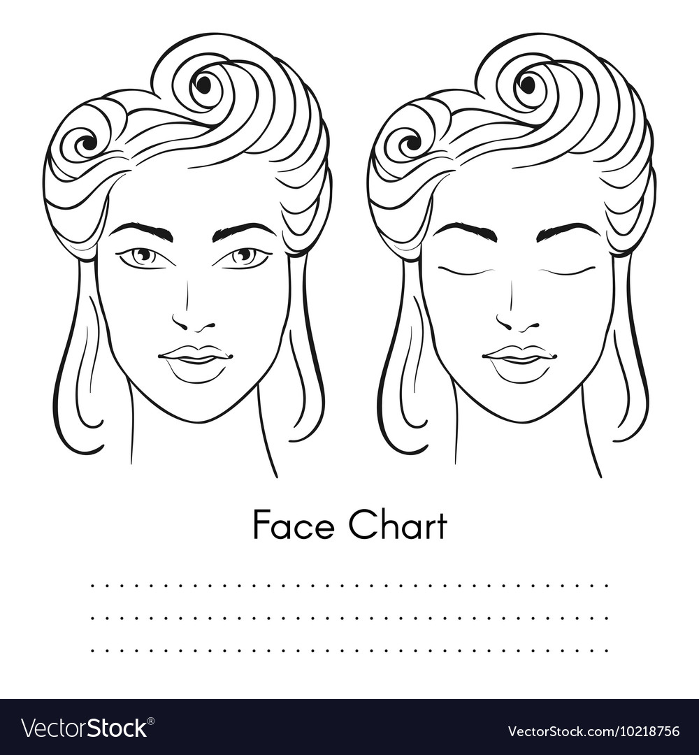 Beautiful woman face chart portrait