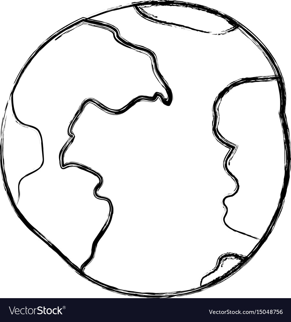 Blurred thick silhouette of world sphere vector image
