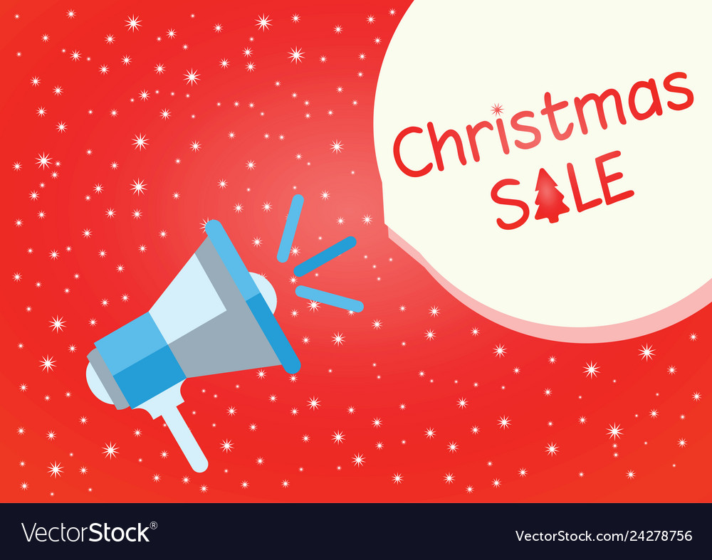 Christmas sale red background with megaphone
