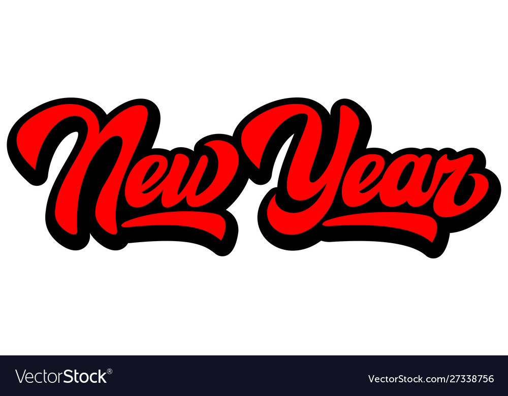 Color calligraphic inscription new year lettering