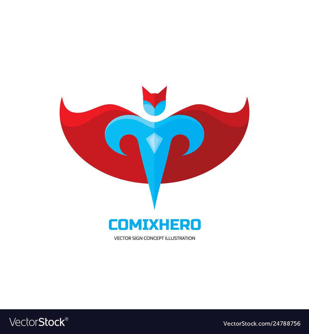 Comix hero - logo template concept in flat