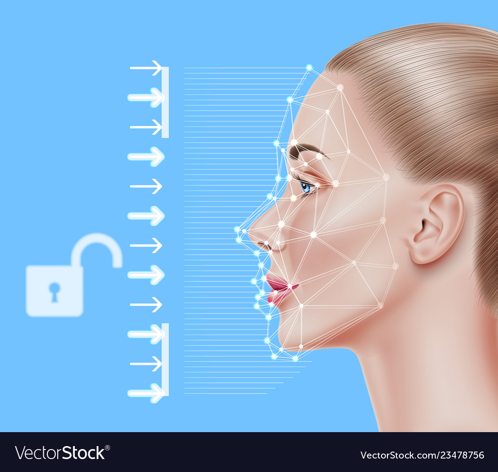 Face recognition biometric scanning of girl