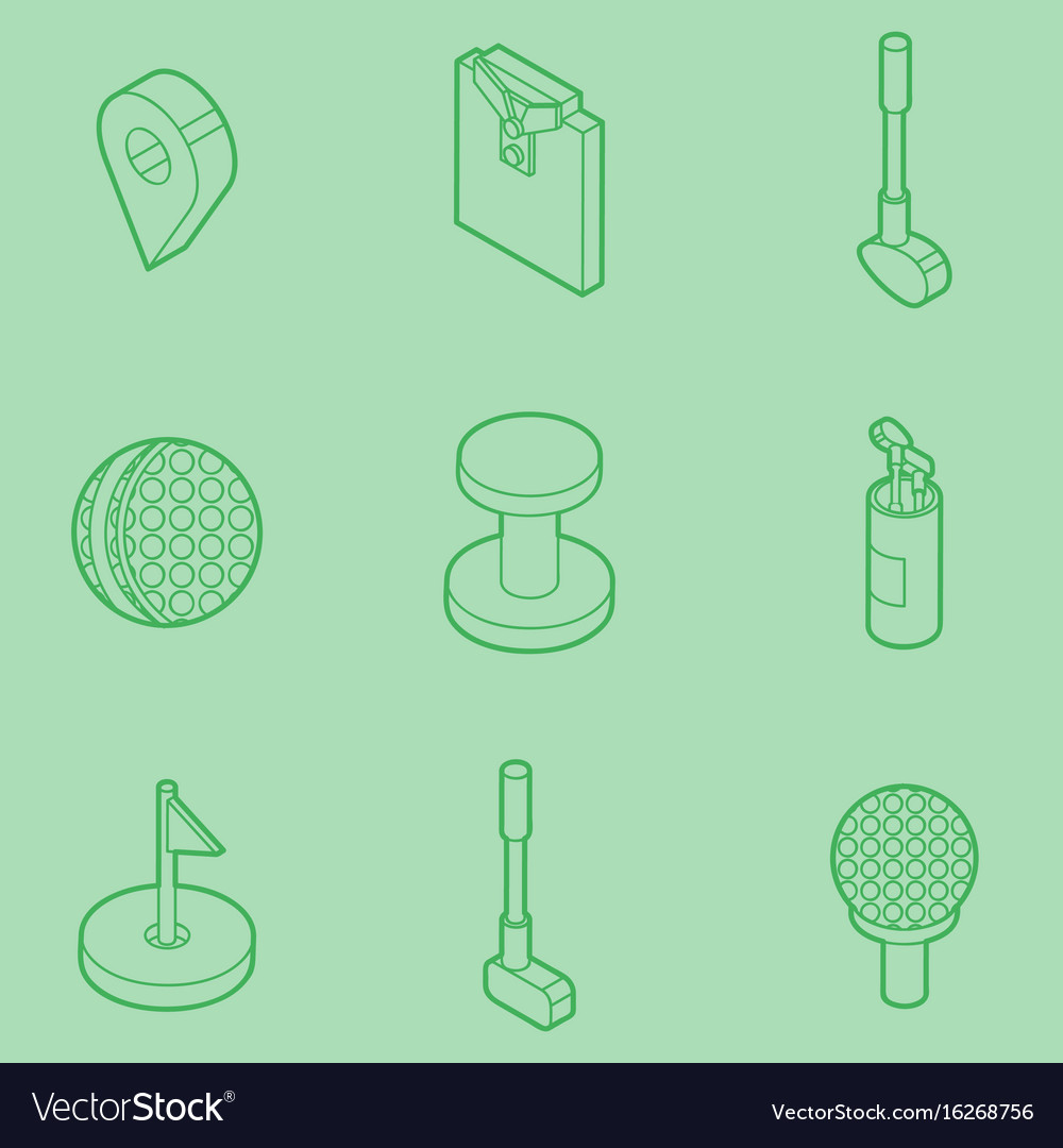 Golf outline isometric set