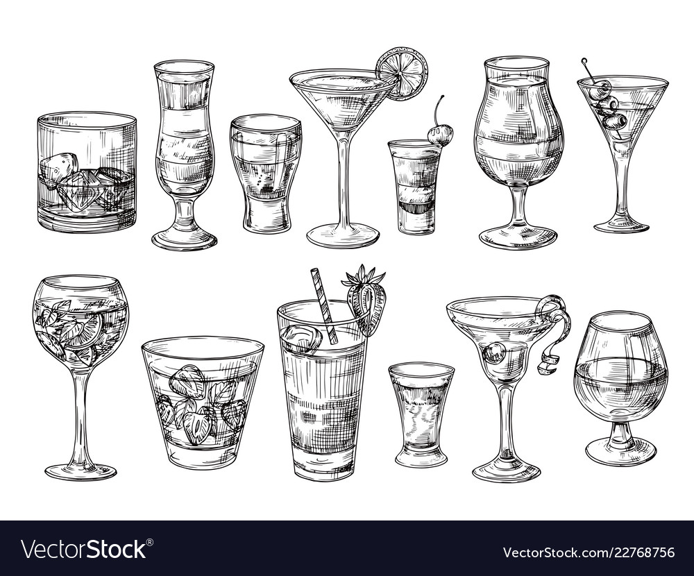 Hand drawn cocktail alcoholic drinks in glasses