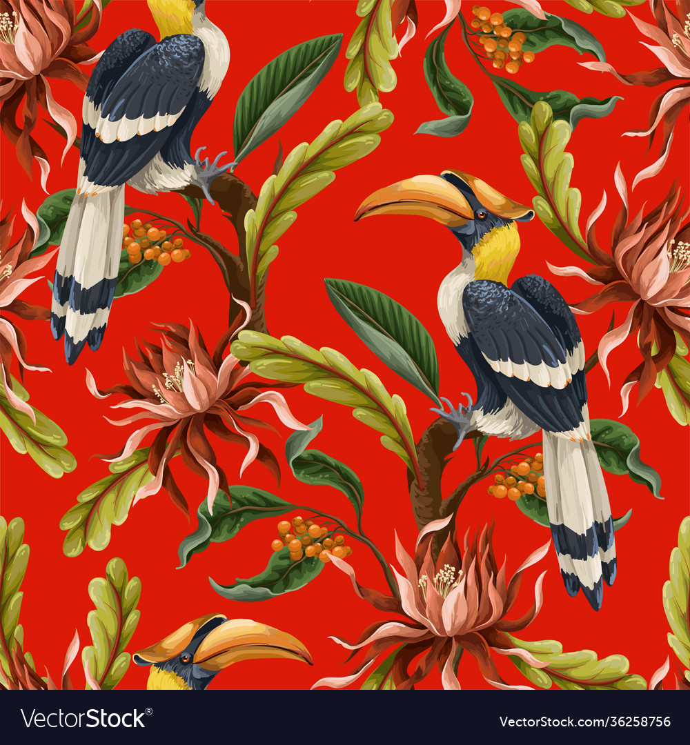 Seamless pattern with birds and tropical leaves