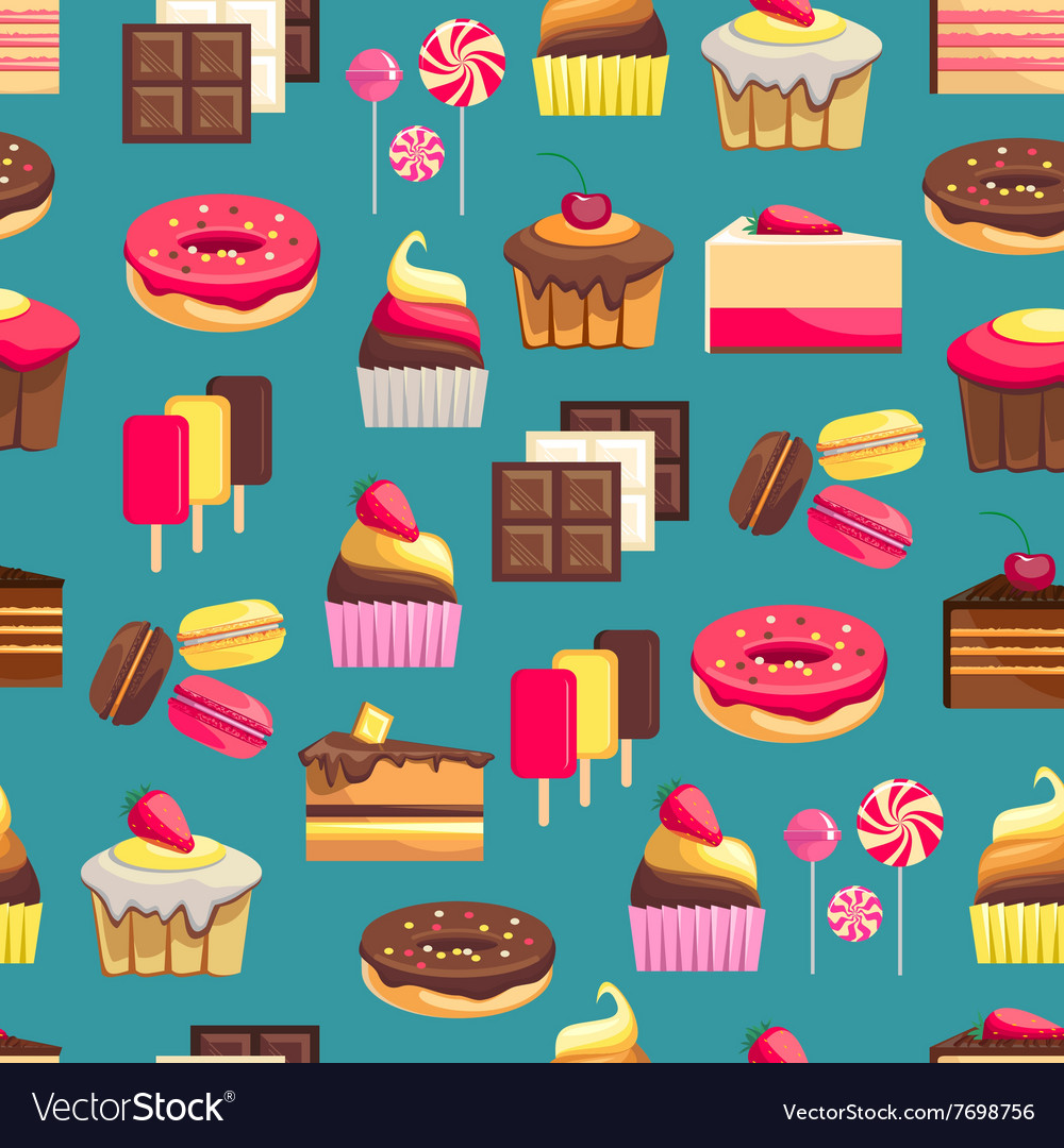 Seamless pattern with sweet dessert objects