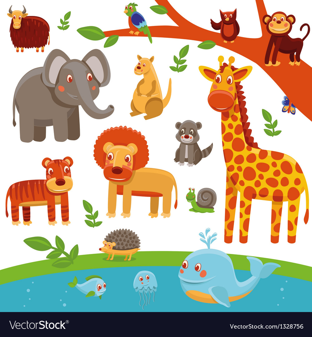Set of cartoon animals - funny and cute vector image