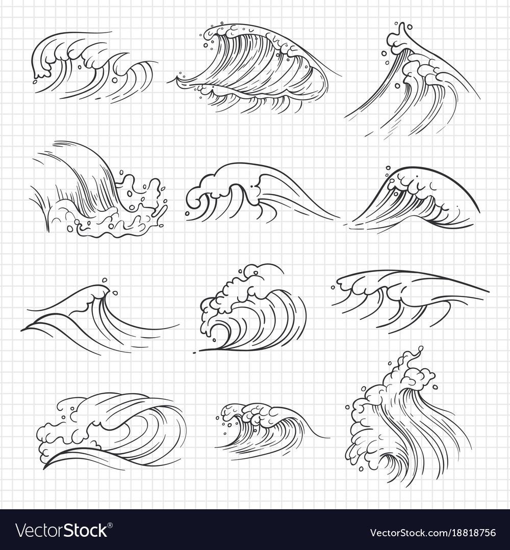 Sketch of expressive ocean waves