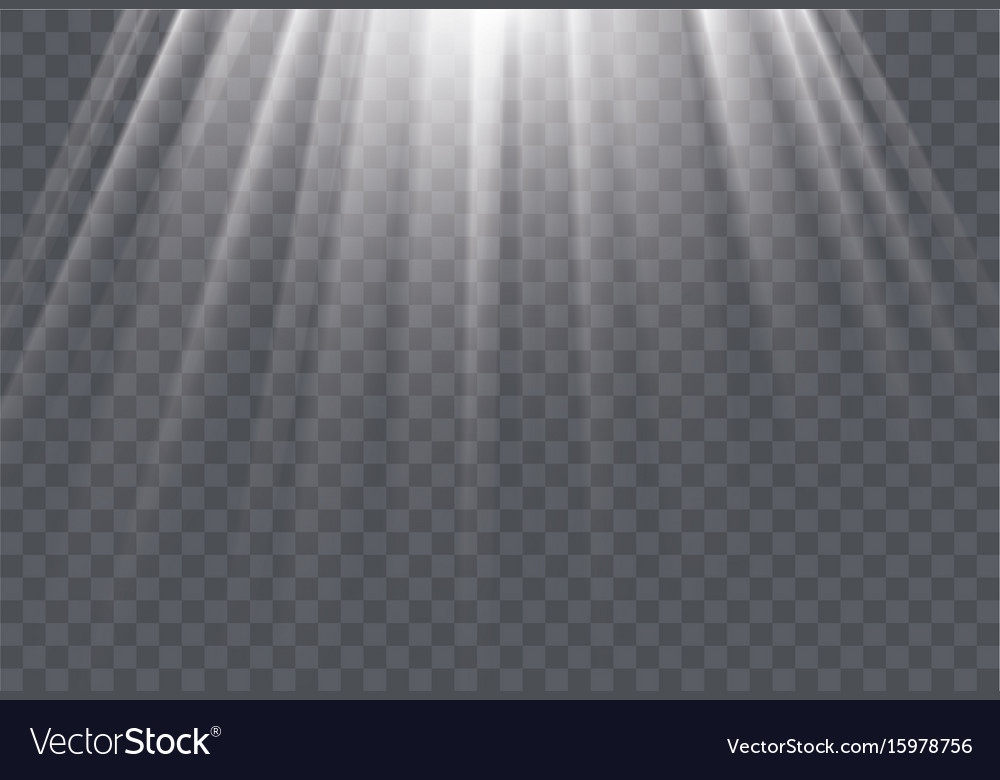 White sun rays and glow light effect on vector image