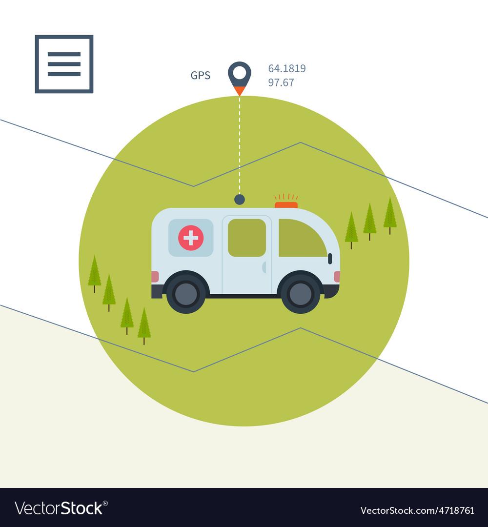 Ambulance car icon in flat design style