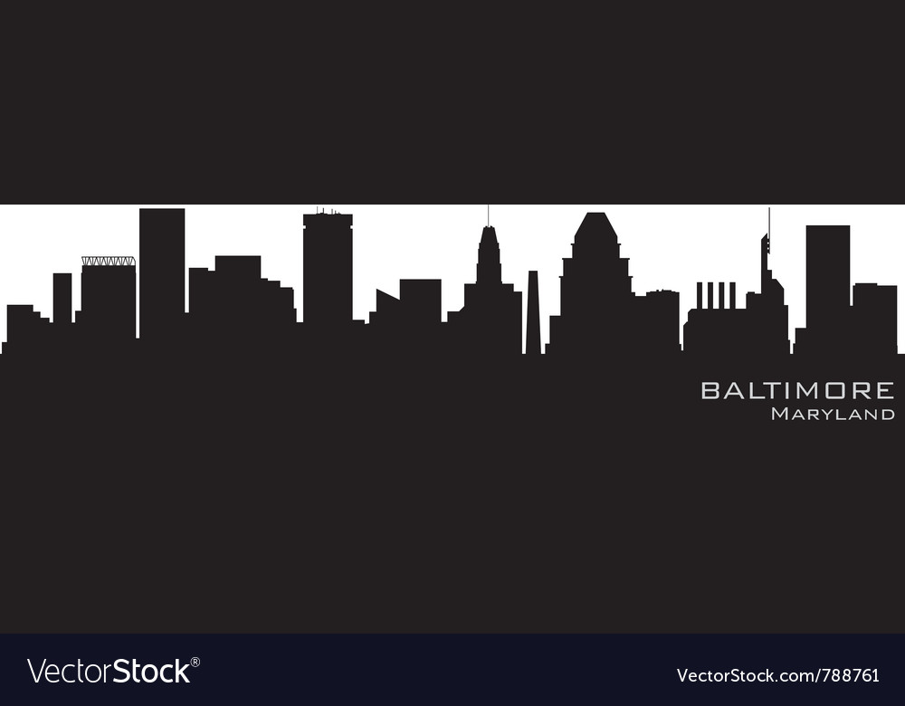 Baltimore maryland skyline detailed silhouette
