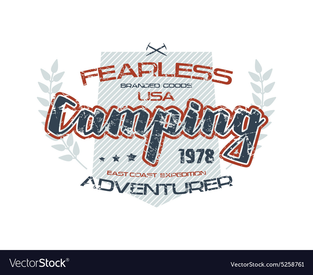 Camping typographic emblem