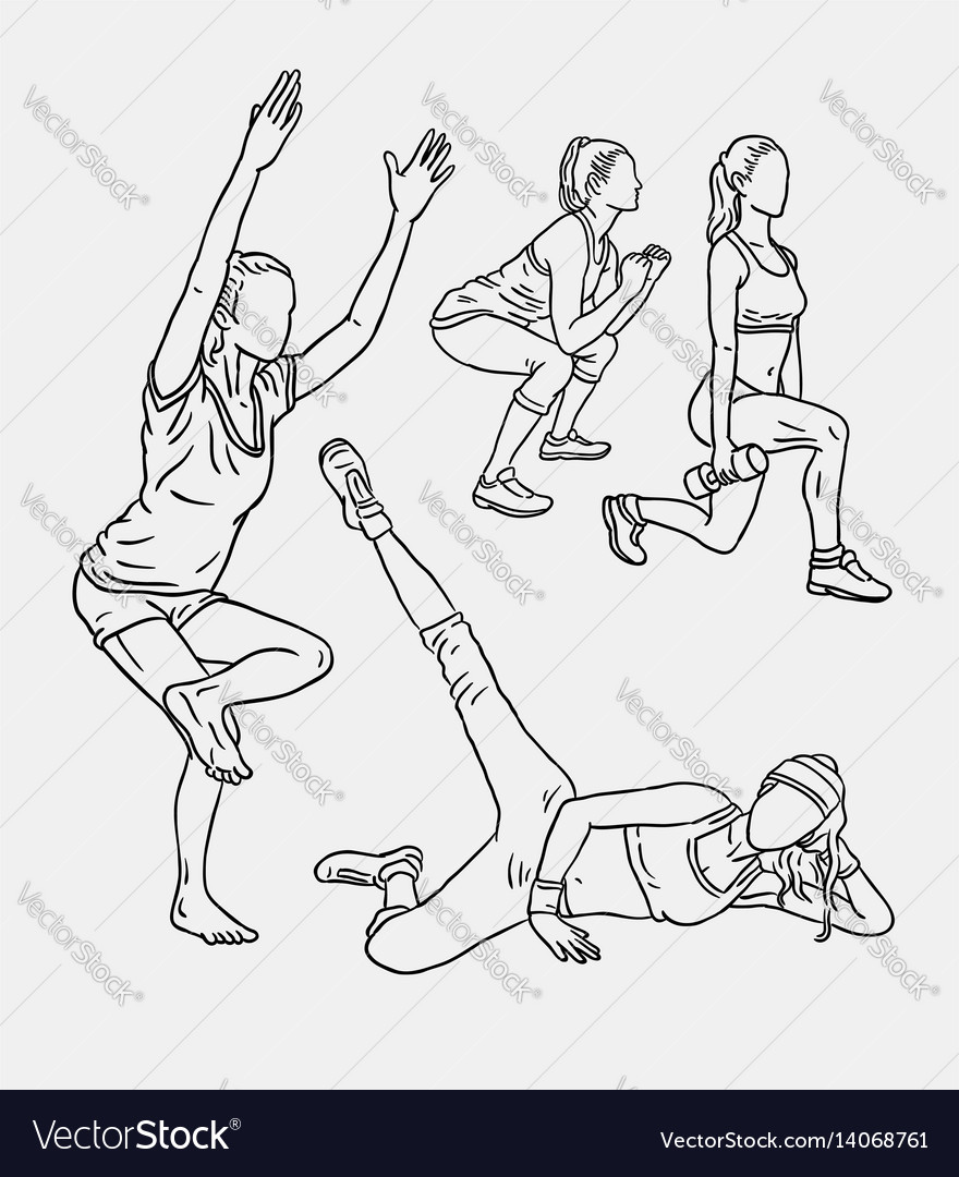 Fitness training sport line art drawing style