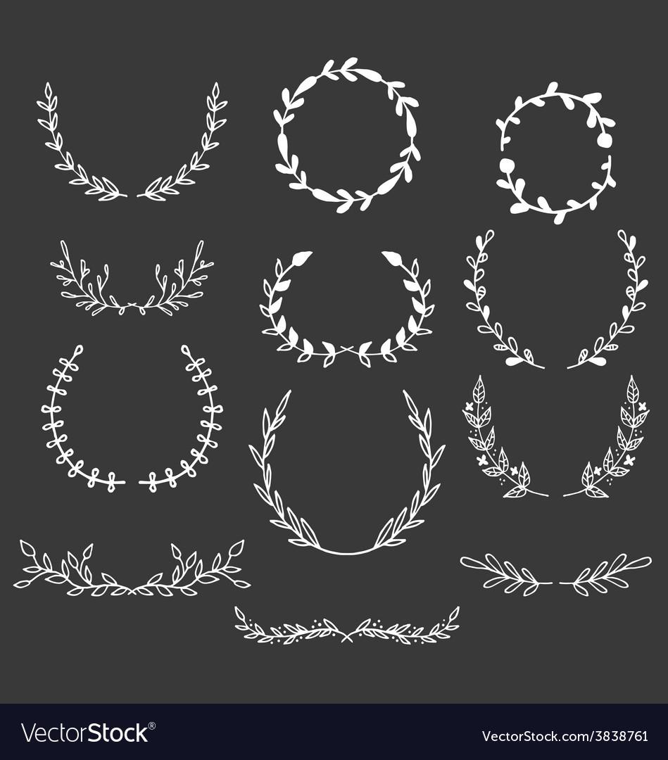 Hand Drawn Laurels Wreaths Doodle Set vector image
