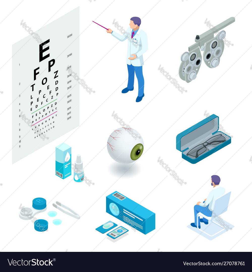 Isometric set ophthalmology and eye care icons