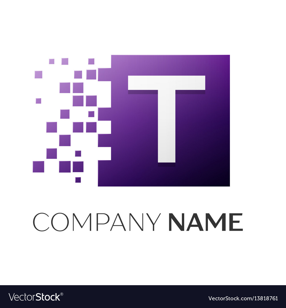 Letter t logo symbol in the colorful square with