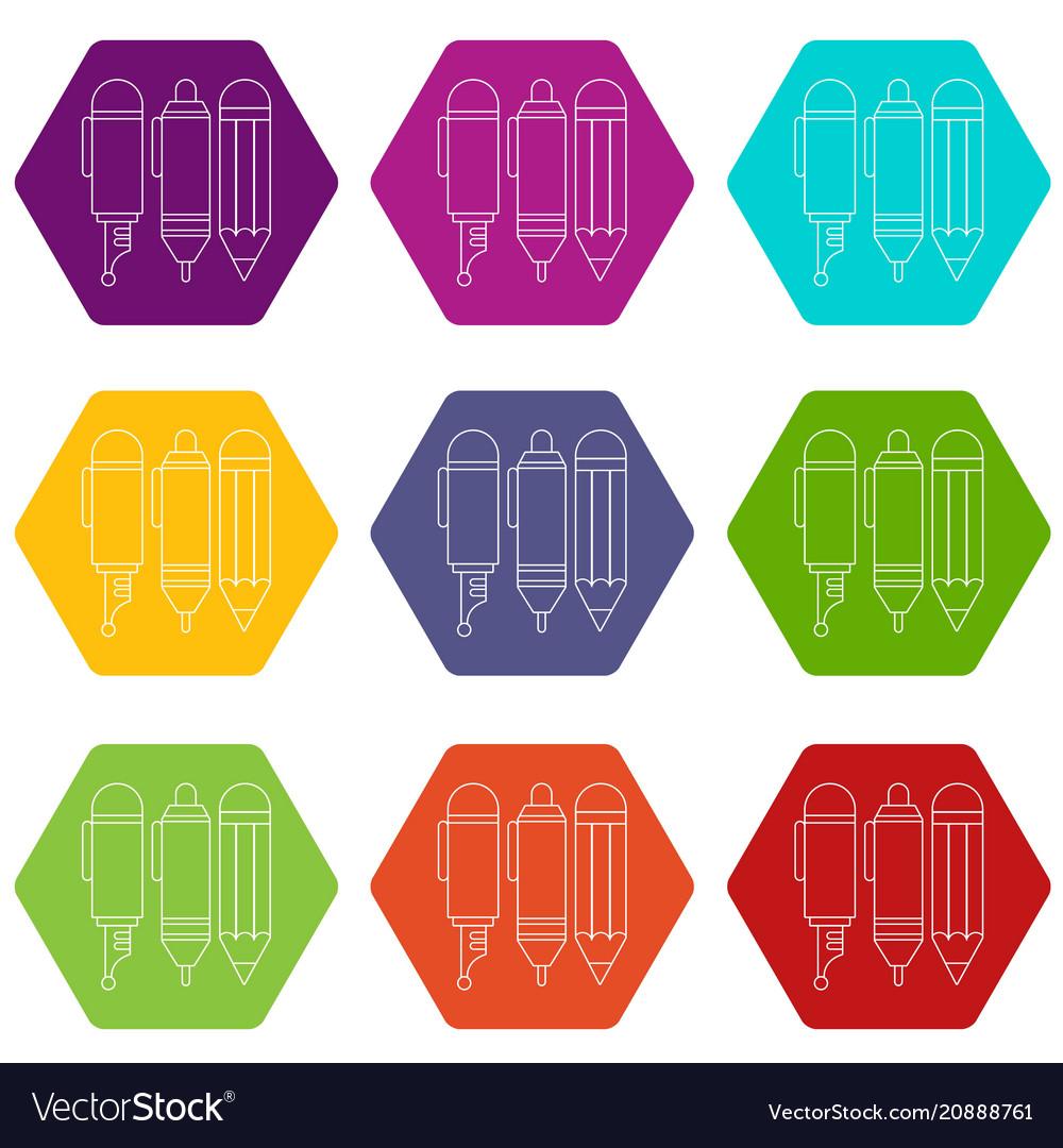 Stationery icons set 9