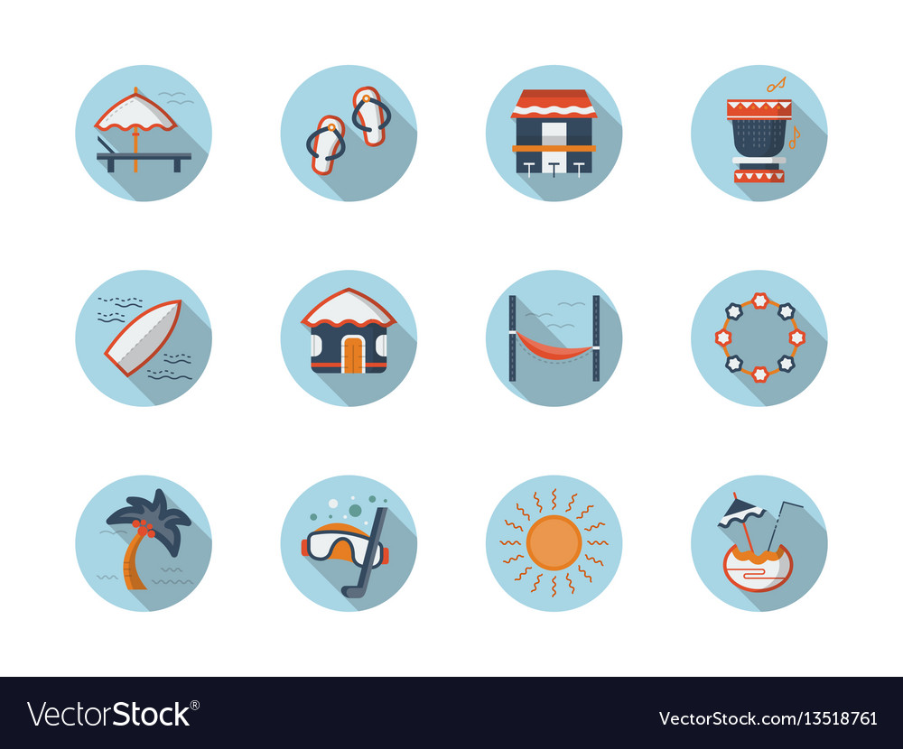 Summer rest round flat color icons set