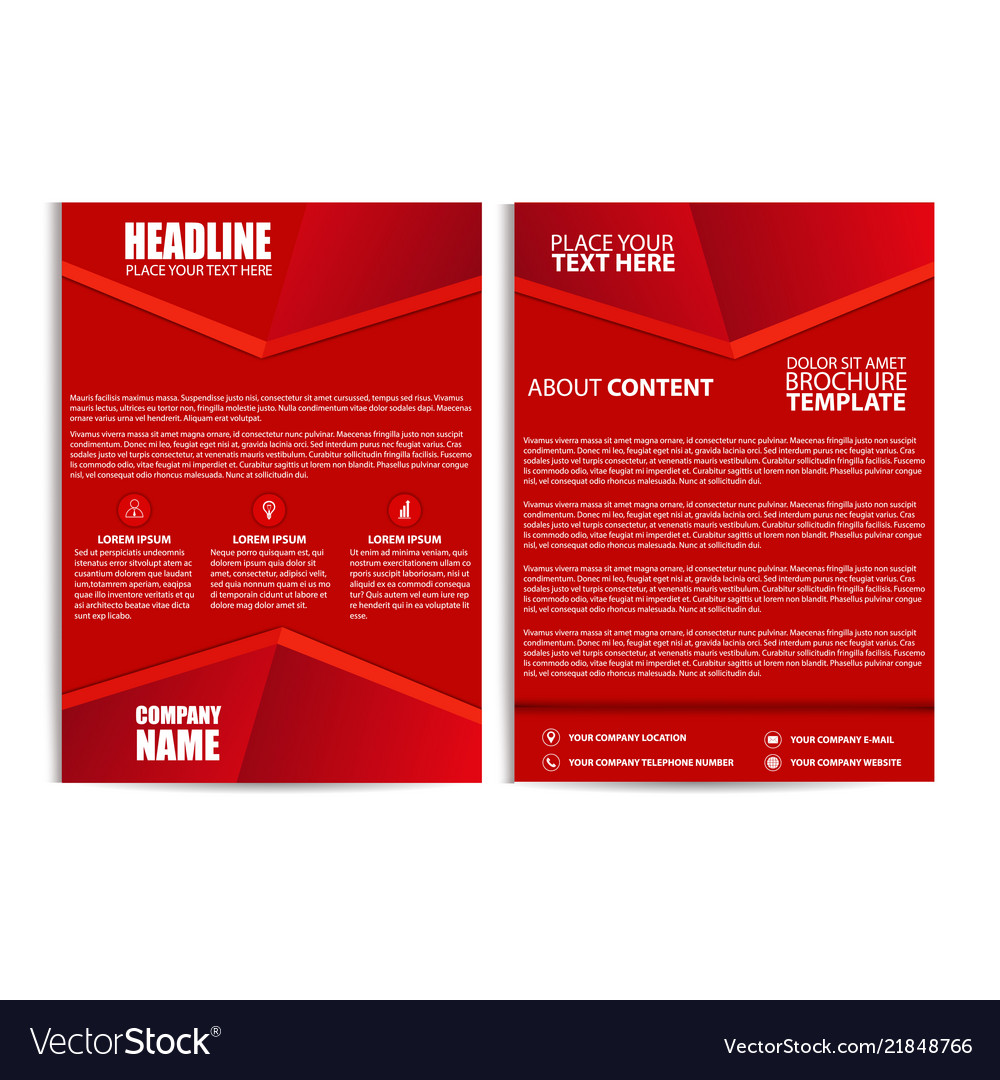 Abstract red color flyer template size a4