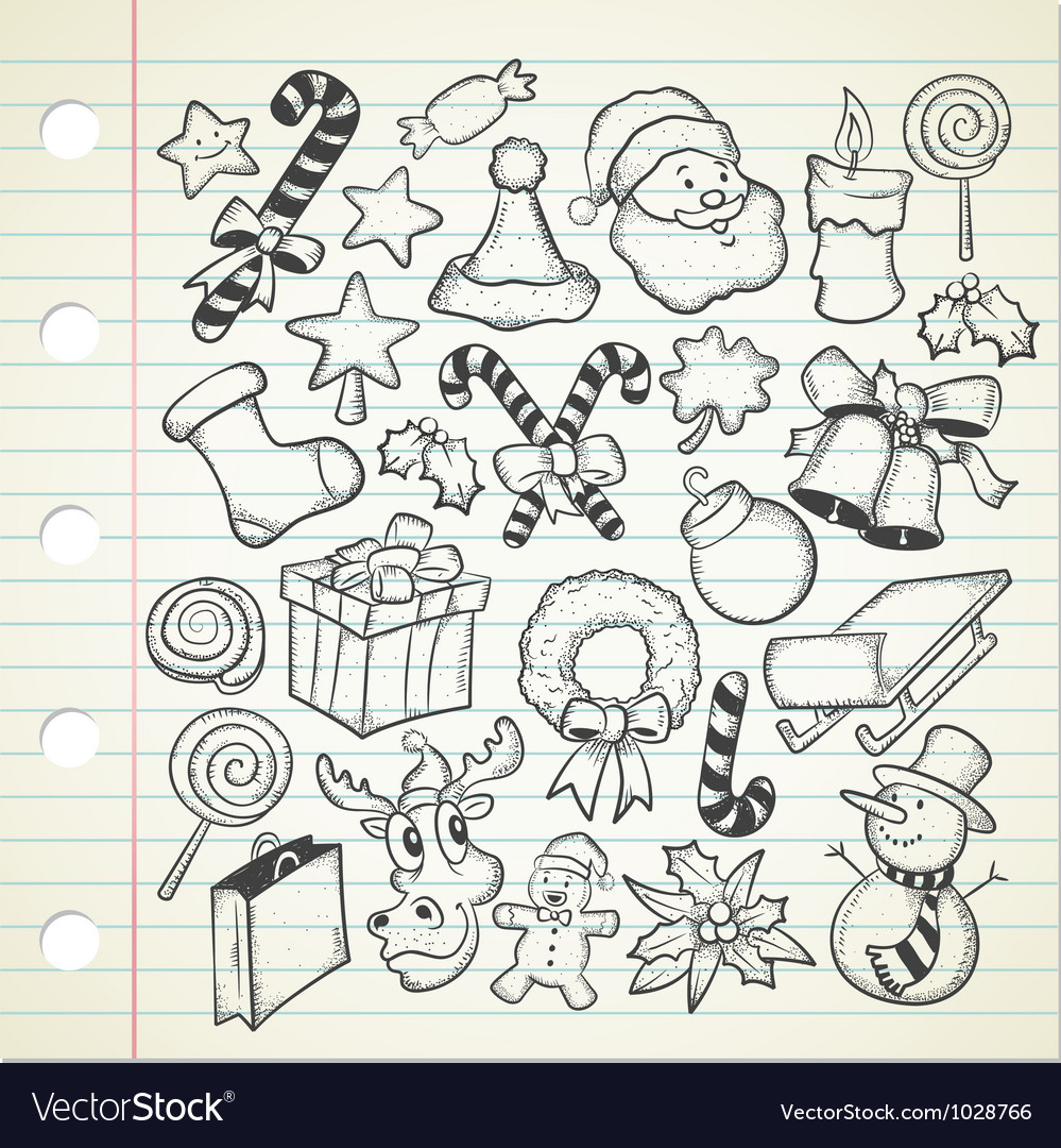 christmas doodles Royalty Free Vector Image