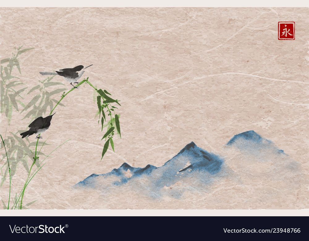 Bird bamboo branch and mountain hand-drawn with