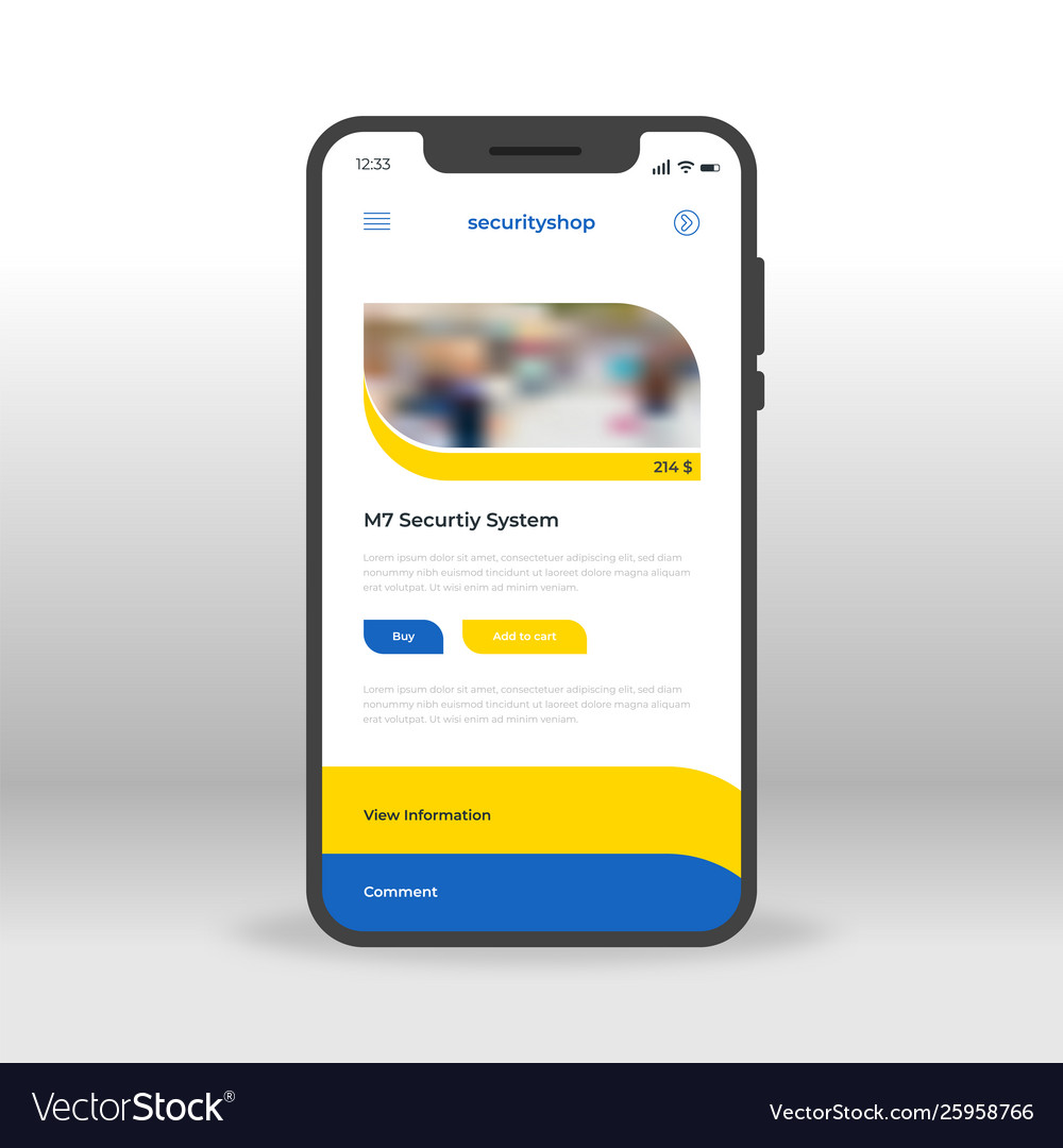 Blue and yellow security shop ui ux gui screen