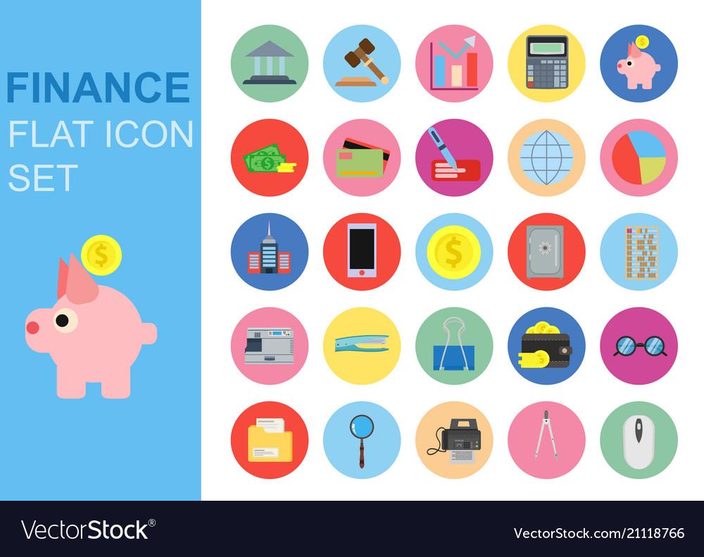 Finance universal flat business icons set design