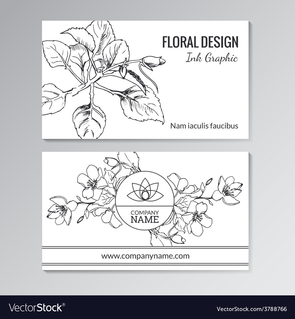 Floral templates for business or visiting cards