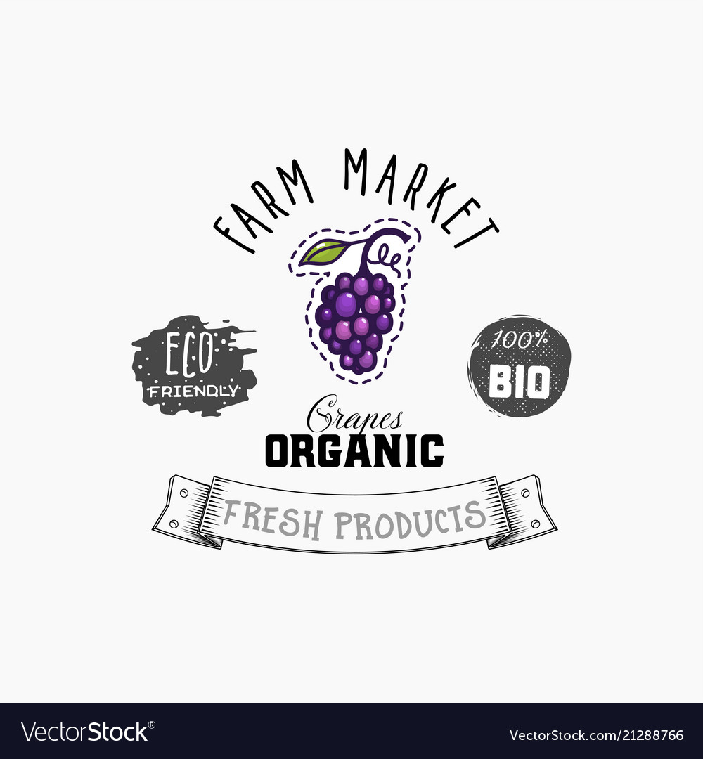 Grapes bio sticker and eco products grapes web