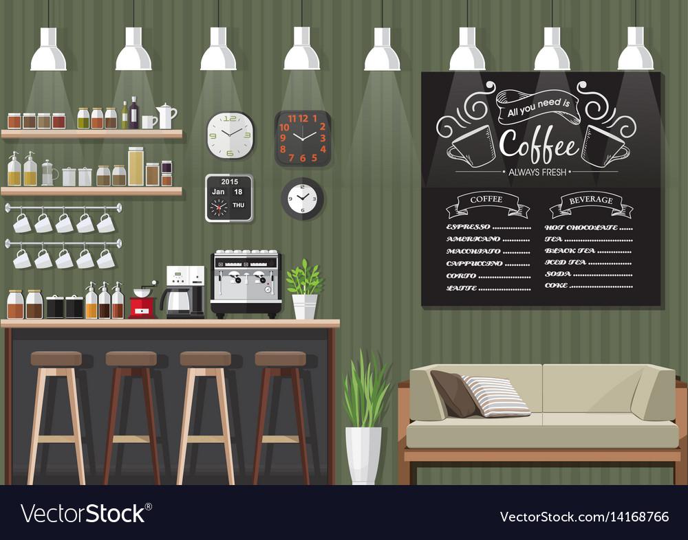 Green Coffee Shop Interior Royalty Free Vector Image