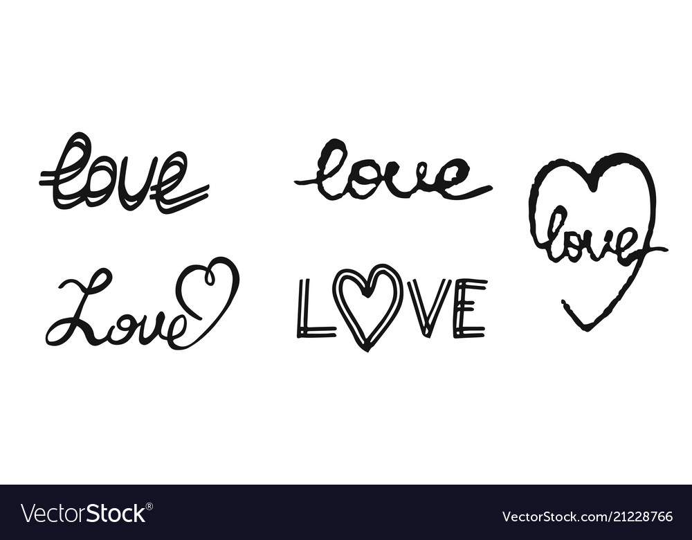 Hand write text love design elements for