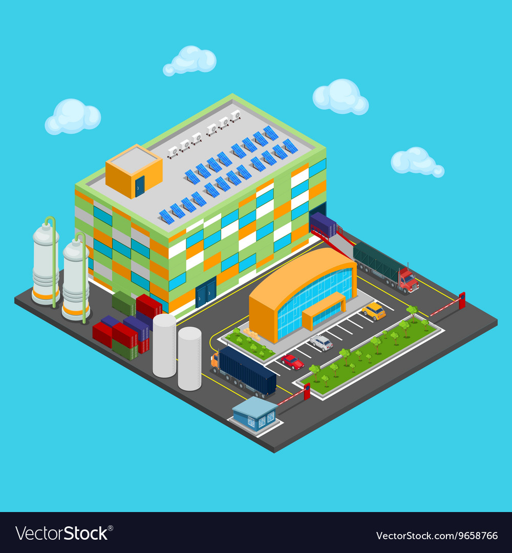 Isometric Warehouse with Industrial Shipping Area
