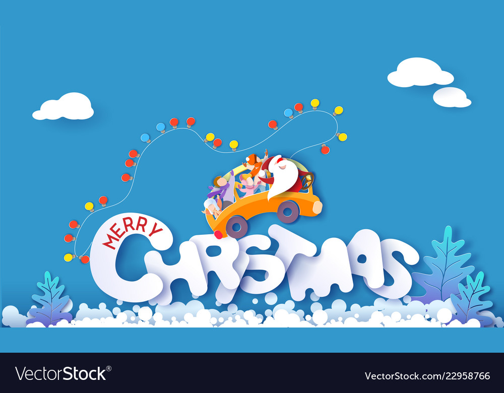 Merry christmas design card with santa claus